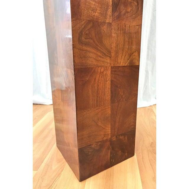 Burlwood Vintage Milo Baughman-Style Architectural Walnut Pedestal For Sale - Image 7 of 10