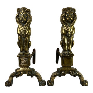 English Brass Lion Andirons, Pair For Sale