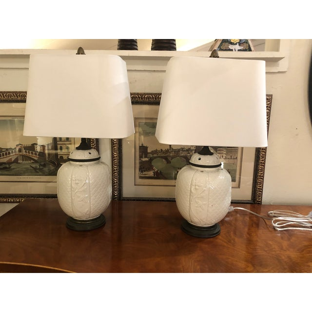 White 1940s Vintage Chinese White Ceramic Table Lamps- A Pair For Sale - Image 8 of 8