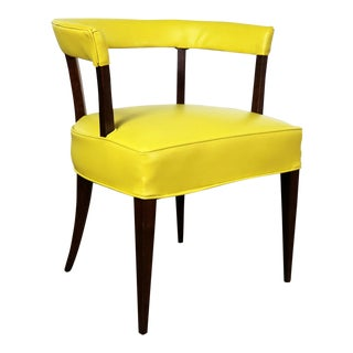 Mid Century Modern Yellow Vinyl and Oak Barrel Back Side Chair For Sale