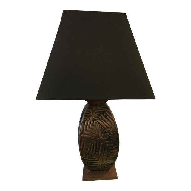 Gump's Metal Base Table Lamp For Sale