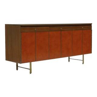 Credenza in Orange leather and Mahogany by Paul McCobb for Calvin
