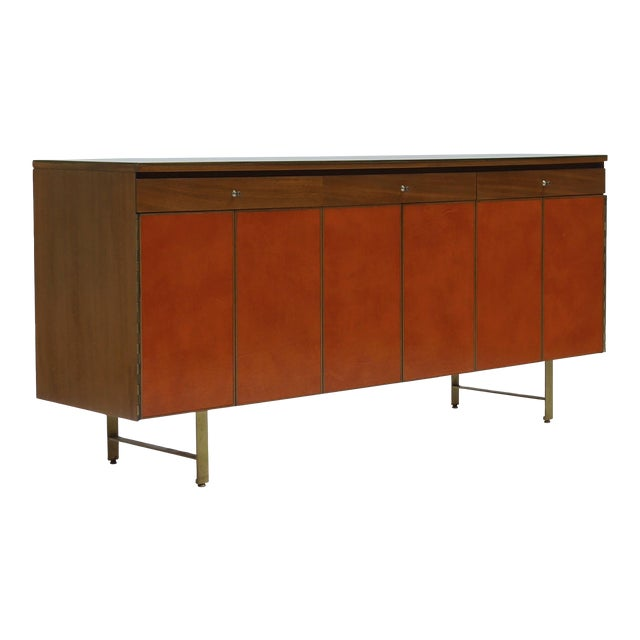 Credenza in Orange leather and Mahogany by Paul McCobb for Calvin For Sale