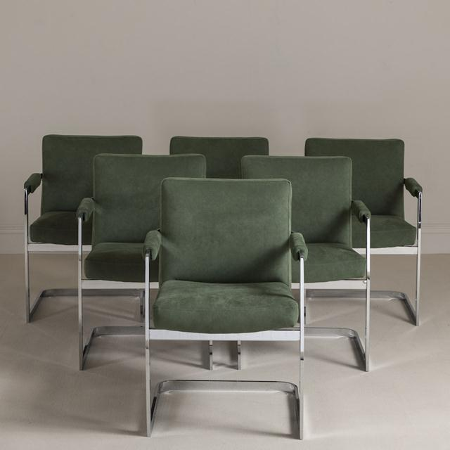 Mid-Century Modern A Set of Six Nickel Plated Cantilever Armchairs 1970s For Sale - Image 3 of 6