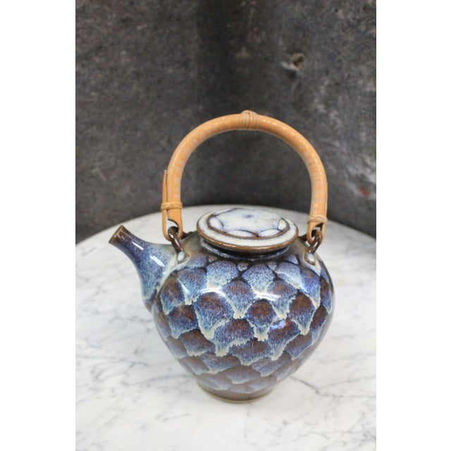 Ceramic Ceramic Teapot with Wooden Handle For Sale - Image 7 of 8