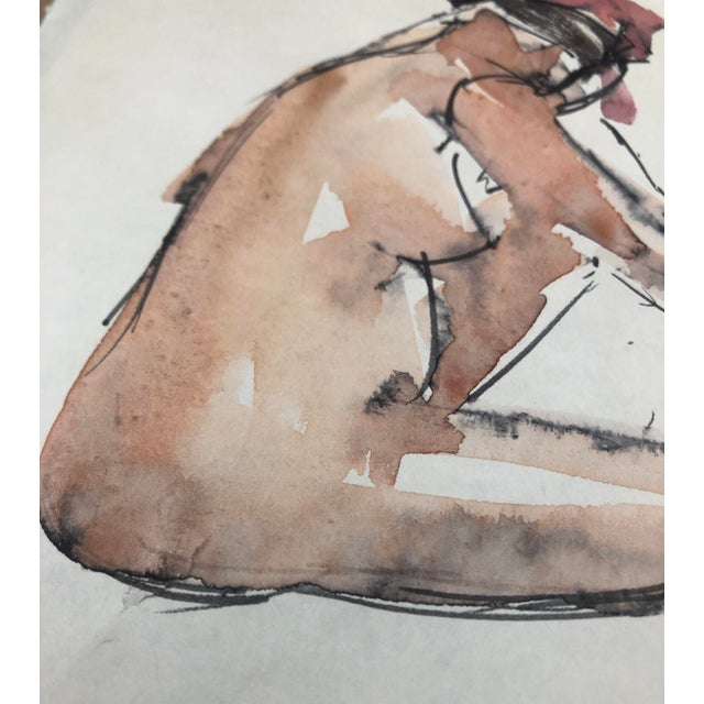 Figurative Abstracted Seated Female Nude by Stanley Brodey, 1950s For Sale - Image 3 of 5