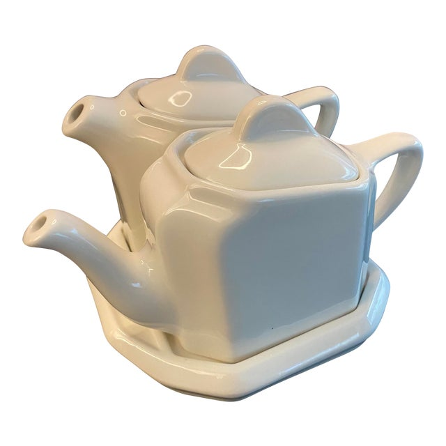 Tea For Two Twin Tea Set With Matching Trivet by Hall Pottery - 5 Piece Set For Sale