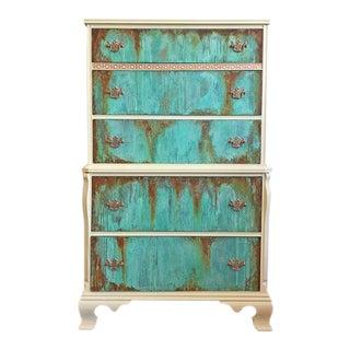 Vintage Mid-Century Copper Patina & Rust Highboy Dresser For Sale