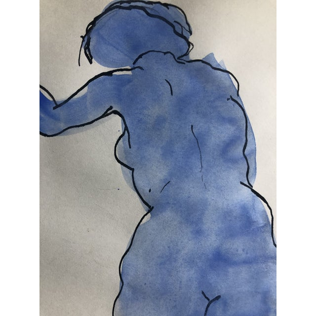 Figurative Nude Blue Female Figure Study, 1950s For Sale - Image 3 of 4