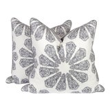 Image of Gray Linen Batik Pattern Pillows, a Pair For Sale