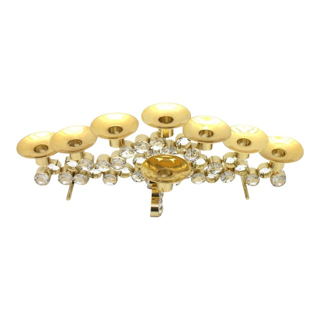 Set of Three Crystal and Gilded Candleholder by Palwa Germany, 1960s For Sale