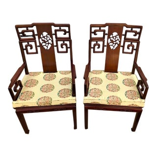 Mid Century Asian Armchairs - a Pair For Sale