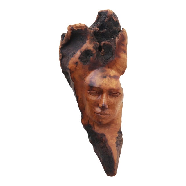 Vintage Figurative Burl Wood Face Sculpture by Peggy Brundall For Sale