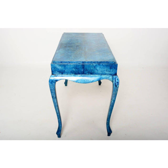 1950s Blue Goatskin Console Table For Sale - Image 5 of 7