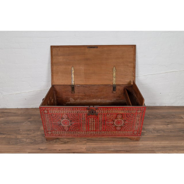 Wood Antique Madura Blanket Chest With Inlaid Mother-Of-Pearl Red Geometric Decor For Sale - Image 7 of 13