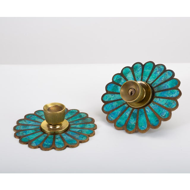 Turquoise Mexican Modernist Cloisonné Door Knob Plates by Pepe Mendoza For Sale - Image 8 of 8