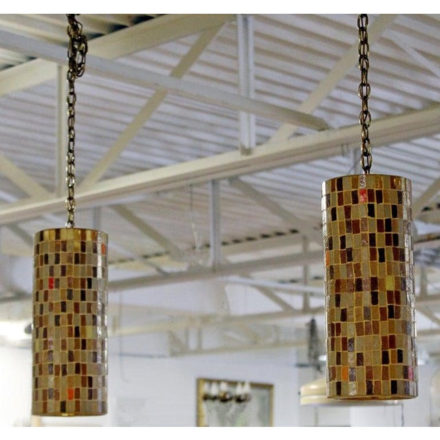 Italian 1960s Mid-Century Modern Italian Murano Glass Tile Pendant Light Fixtures - a Pair For Sale - Image 3 of 9