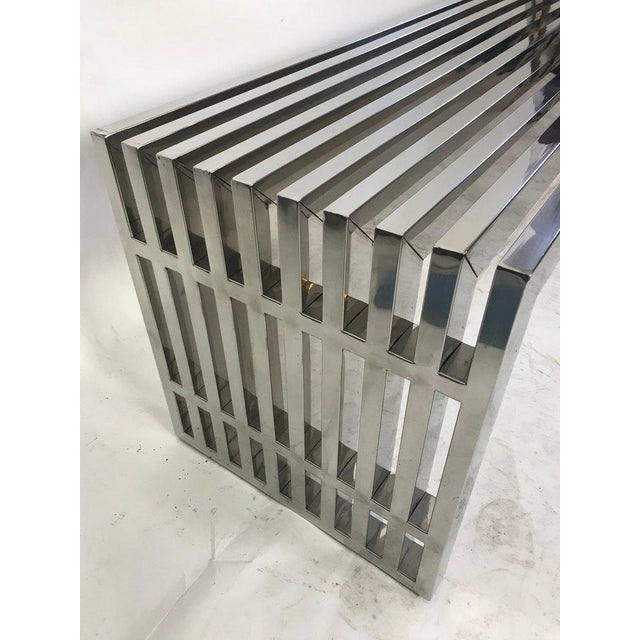 1970s 1970s Vintage Chrome Slat Bench / Coffee Table For Sale - Image 5 of 8