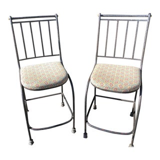 English Traditional Wrought Iron Kitchen/Bar Stools - a Pair