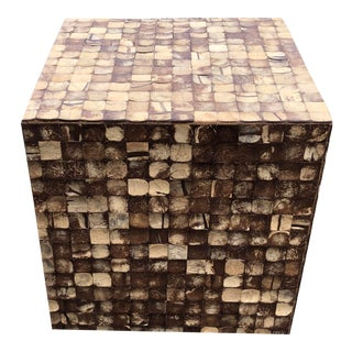 Coffee Table Cube Faux Wood Mosaic Pattern For Sale