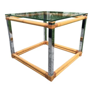 ModernChrome Bar and Rattan Wrapped End Table For Sale