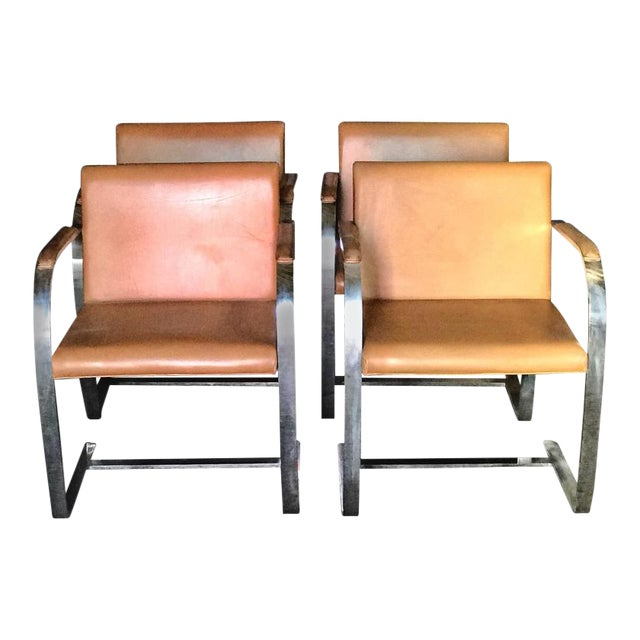 """Mies Van Der Rohe for Knoll Studio """"Brno Flat Bar"""" Lounge Armchair in Leather For Sale"""