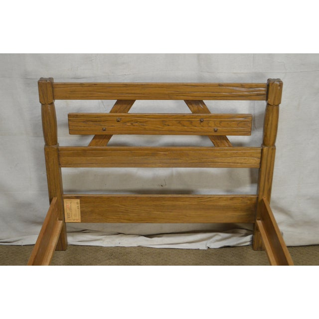 Brandt Ranch Oak Rustic Pair of Sawbuck Twin Beds - a Pair For Sale - Image 10 of 13