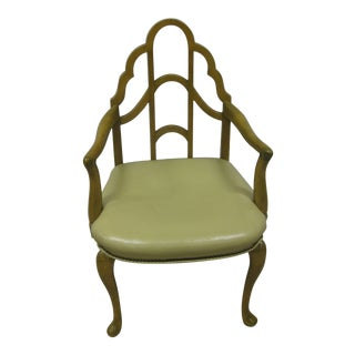Mid Century Cathedral Back Leather Seat Arm Chair For Sale