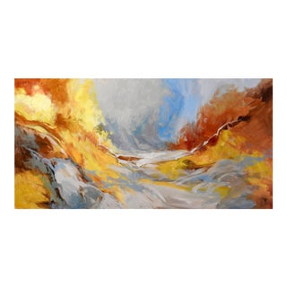 """""""Midsummer River"""" Stream Near Grassland, Abstract Expressionist Oil Painting For Sale"""