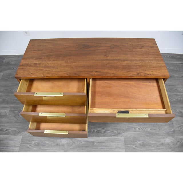 Kent Coffey Tableau Walnut and Brass Desk For Sale - Image 9 of 12