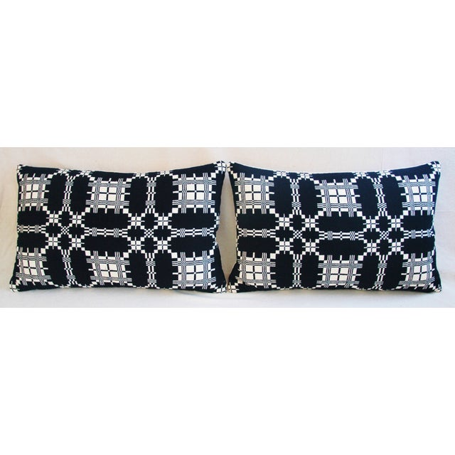 Custom 19th-C. New England Coverlet Feather/Down Pillows - Pair For Sale - Image 11 of 11