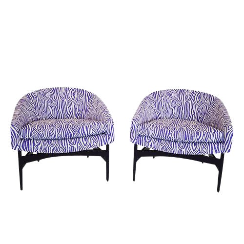 Mid Century Modern Pair of Lawrence Peabody Newly Upholstered Barrel Back Lounge Chairs - Image 1 of 12