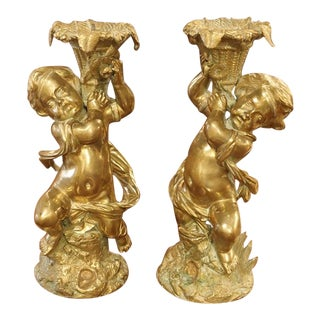 Circa 1850 Gilt Bronze Putti Candlestick Holders From France - a Pair For Sale