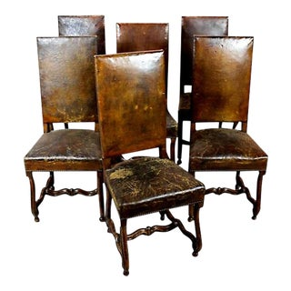 19th Century Hand Carved Walnut and Distressed Leather Dining Chairs - Set of 6 For Sale