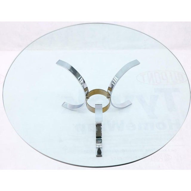 "Heavy Thick 3/4"" Glass Round Top Chrome & Brass Tripod Base Coffee Table For Sale - Image 6 of 12"