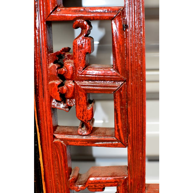 Antique Chinese Red and Black Screens - a Pair For Sale - Image 9 of 13