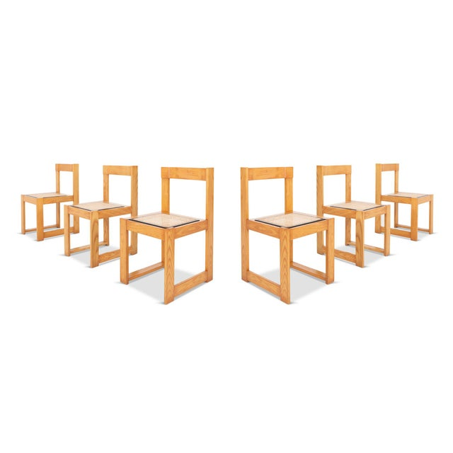 Architectural & Asymmetrical Dining Chairs in Pine & Wicker For Sale - Image 9 of 9