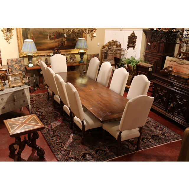 French Large French Carved Walnut Dining Room Side Chairs With Arched Top - Set of 10 For Sale - Image 3 of 13