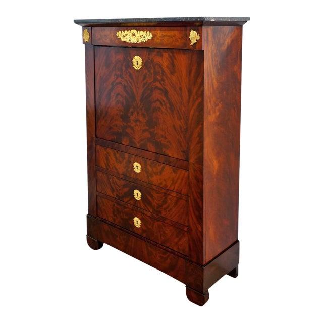 Antique 1852 French Empire Secretaire Abattant Secretary Desk For Sale