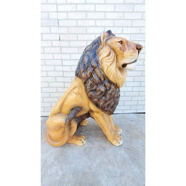 Contemporary Glazed Terra Cotta Lion Statue For Sale - Image 3 of 6