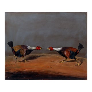 Vintage Mid-Century Two Roosters in a Fight Part 1 Painting For Sale