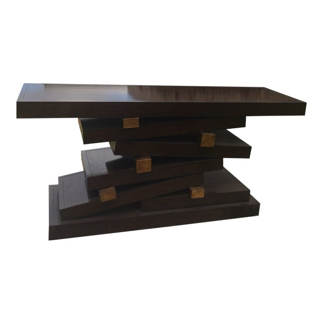 Gold Trim Dark Solid Wood Foyer Table For Sale
