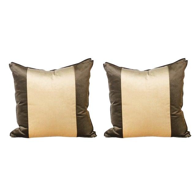 2010s Pair of Two Stripe Pillows Upholstered in Kravet Velvet For Sale - Image 5 of 5