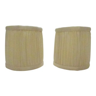 Silk Drum Lamp Shades - A Pair For Sale