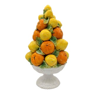 Italian Majolica Orange and Lemon Topiary Centerpiece For Sale