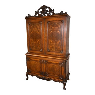 Antique Carved & Inlaid Edwardian Style Four Door Cabinet For Sale