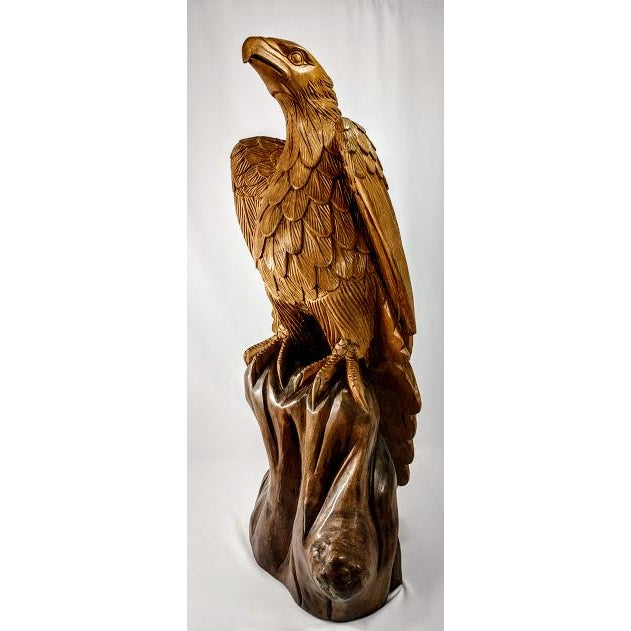 Superb Vintage Life Size 34 in Tall Golden Eagle Statue Hand Carved From One Piece of Wood For Sale - Image 13 of 13