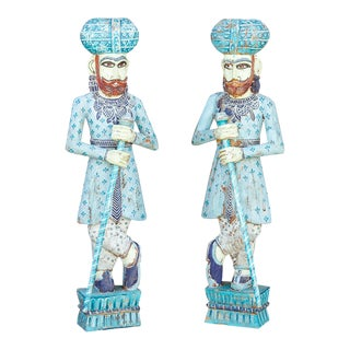 Blue Royal Darbaan Statues, Set of Two For Sale
