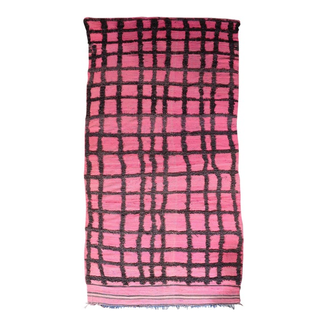Hand Knotted Pink Geometric Moroccan Rug - 5' X 9' - Image 1 of 6