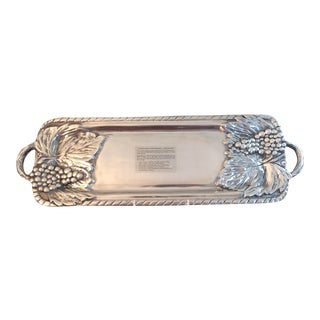 Handmade Mexican Pewter Moka Grapes Serving Tray For Sale